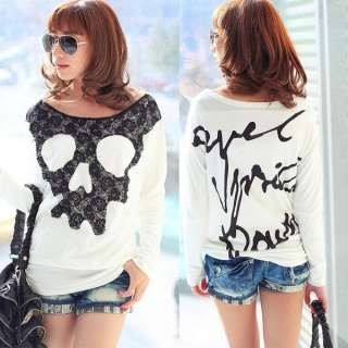 Girls Skull Letter Printing T shirt Womens Clothes M7
