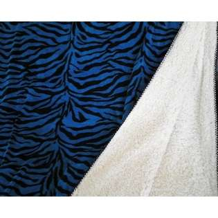 Octorose SUPER SOFT FAUX FUR / MICRO FIBER REVERSIBLE ZEBRA BLUE