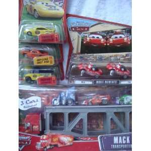 Disney Pixar Cars Lot Mack Hauler WIth Dj, Snot Rod, Wingo, Dexter