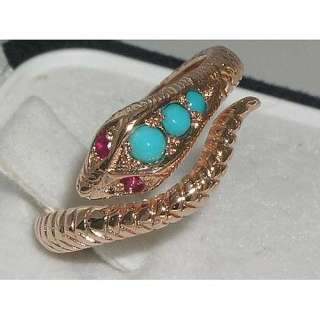 SOLID 14K ROSE GOLD TURQUOISE RUBY SCALED SNAKE RING