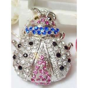 8GB Crystal Diamond Lady Bug Style USB Flash Drive(Silver