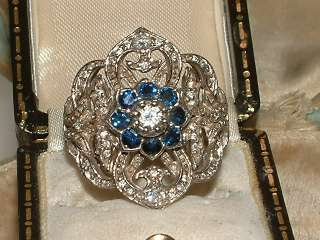 LARGE WIDE 18CT WHITE GOLD SAPPHIRE DIAMOND FLOWER CLUSTER RING