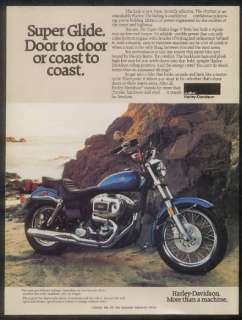 1980 Harley Davidson Super Glide motorcycle photo ad