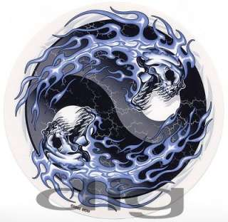 Yin Yang with SKULLS FLAMES & FULL MOONS Sticker/Decal