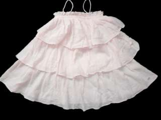 FRED BARE ~ PINK CHEESECLOTH TIERED DRESS ~ Sz 4 EUC