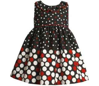 Bonnie Jean Toddler Girls Black Polka Dot Fall Dress 2T