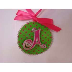 Adornments Hanging Hot Pink & Lime Green Letter A