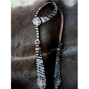 WESTERN LEATHER HEADSTALL SET ZEBRA HAIRON WITH BLUE BLING