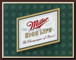 Tin Metal Sign   Vintage Miller High Life Brew Beer Logo Bar Pub #857