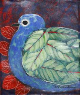 Original Painting Naive Folk Art Pigeon Rafael Amable Latin American