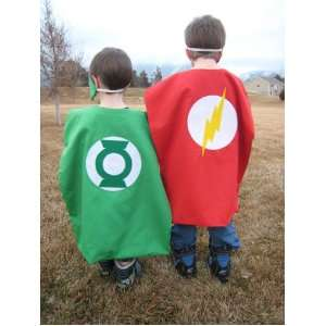 Green Lantern Superhero Cape Costume with 2 Masks