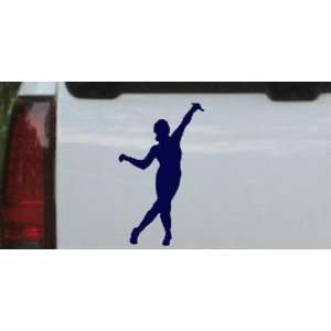 Dancer Silhouettes Car Window Wall Laptop Decal Sticker    Navy 30in X