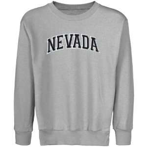 Nevada Wolf Pack Youth Ash Arch Applique Crew Neck Fleece Sweatshirt