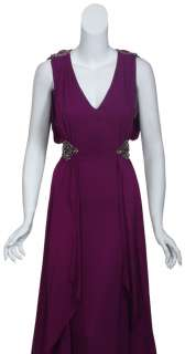 BADGLEY MISCHKA Regal Amethyst Silk Chiffon Rhinestone Long Gown Dress