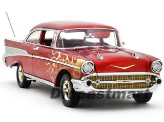 HIGHWAY 61 118 1957 CHEVY BEL AIR SEDAN NEW DIECAST MODEL CAR RED