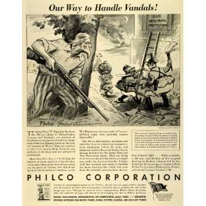 1942 Ad Philco WWII War Production Army Navy Vandals