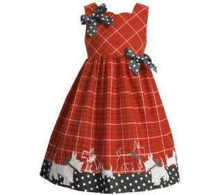 Bonnie Jean Girls Red Black Scotty Dog Holiday Dress 6