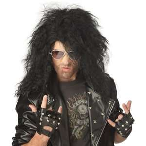 Black Heavy Metal Rocker 80s Rockstar Curly crimped