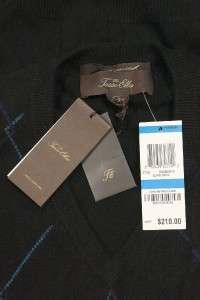 NEW TASSO ELBA V NECK CASHMERE BLACK SWEATER M $210