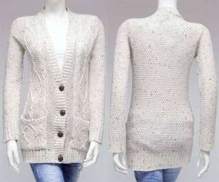 NEW WOMENS CABLE KNITTED BOYFRIEND CARDIGAN SIZE S,M,L
