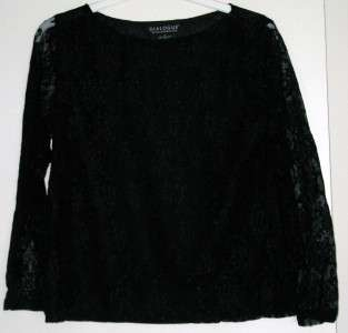 Dialogue Long Sleeve Boat Neck Lace Top BLACK MED