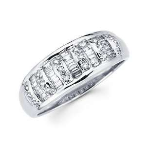 Size  13   14k White Gold Diamond Channel Set Wedding Dome