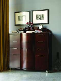 Art Deco Youth Merlot 10 Drawer Dresser Chest and Hutch