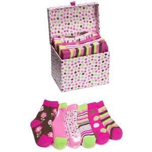 Baby Girl Socks In A Box Gift Pack   6 Pair   0 12 Months Baby
