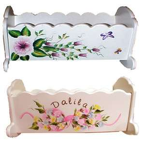 Hand Painted Personalized Wood Doll Cradles Beautiful NEW