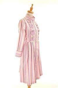 AUTH Luella Pink Striped Cotton Shirt Dress w Pleat Details 38