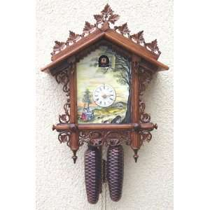 Cuckoo Clock, Chalet, Hand Painted River Scene, Model