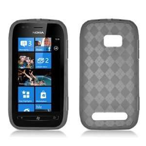 SMOKE PLAID Soft TPU Gel Case Cover For Nokia Lumia 710 (T