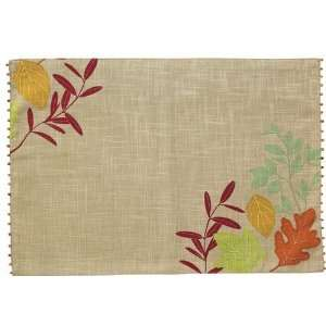 Beaded Appliqued Fall Autumn Leaves Placemats Set of 4 by