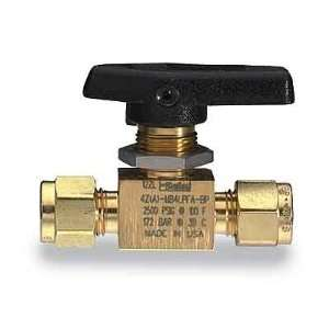 Parker two way straight ball valve, brass, 1/8 compression connection