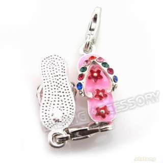 25 Pink Flip flops Charms Clip On Bead Pendant 220070