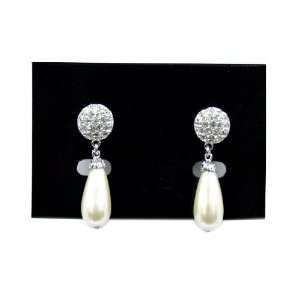 Faux Pearl Teardrop Earrings with Cubic Zirconia Gemstones
