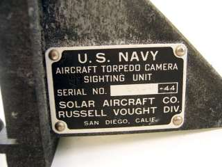 OLD WWII NAVY AIRCRAFT TORPEDO CAMERA USN VOUGHT SOLAR