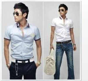 Mens Casual Slim fit Stylish Short Sleeve Shirts Luxury with Stripe