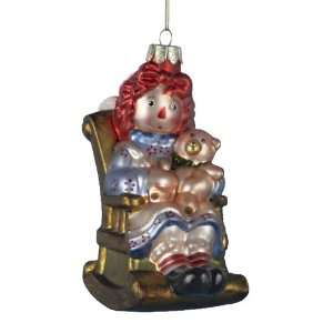 Kurt Adler 5 Inch Glass Raggedy Ann Sitting on Rocking