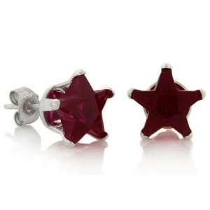 January Birthstone Garnet Red Star Cut Cubic Zirconia CZ Silver Stud