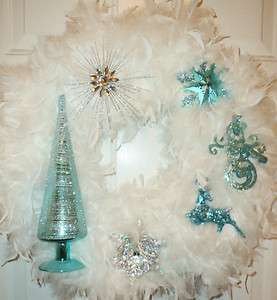 Silver White Feather Christmas Wreath ~ Snowflake ~ Deer ~ Snowman