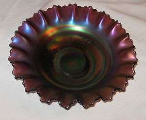 NORTHWOOD CARNIVAL GLASS BOWL AMETHYST WITH SCALLOPED EDGE