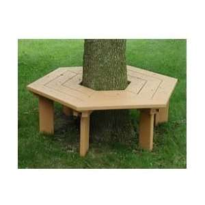 Park Products Hexagonal Tree Bench   Redwood Patio, Lawn & Garden