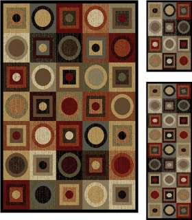 Circles Geometric Area Rug Runner Combo 3 Pcs Modern Border Mat Set
