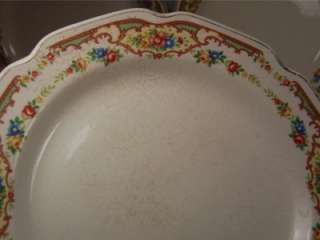 Vtg Antique Shabby Chic Dinner Plates Pink Roses