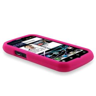 Pink Rubber Soft Cover+2 LCD Film For Motorola Photon MB855 4G