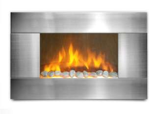 Electric Wall Mount Fireplace 36 wide view Stainless Steel Boxing Day
