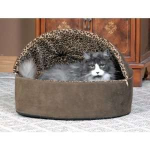 Deluxe Heated Hooded Cat Bed Size 16 x 16, Color Tan