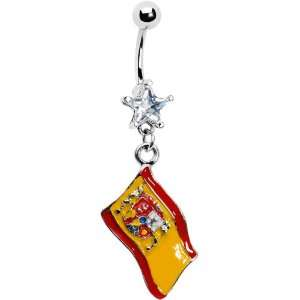 Flag of Spain Star Gem Belly Ring Jewelry