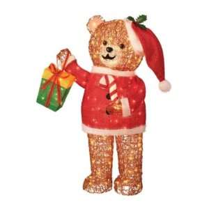 Trim a Home 36in Icy Lighted Christmas Teddy Bear with